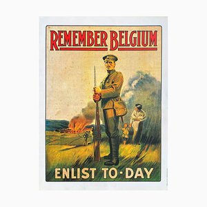 Remember Belgium Enlist to-Day Poster