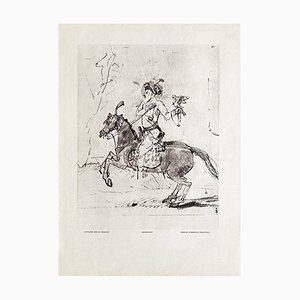 Persian Horseman, Rembrandt Drawing from Revue Verve