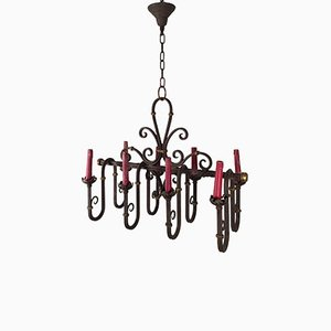 Wrought Iron 8-Light Chandelier, 1940s