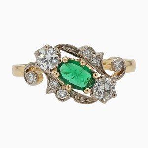 Bague Emeraude, Diamant et Or Jaune 18 Carats Style 19ème Siècle