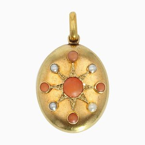 19th Century Pearl, Coral and 18 Karat Yellow Gold Opening Medallion