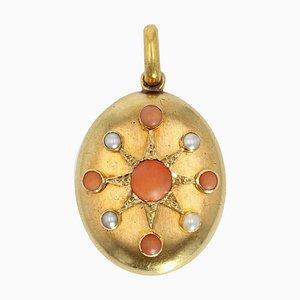 Eröffnungsmedaillon aus Perle, Koralle und 18 Karat Gelbgold, 19. Jh