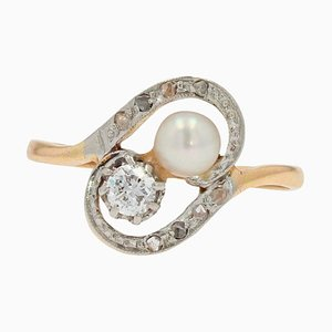 Duo de Perles Naturelles, Diamant et Or Jaune 18 Carats