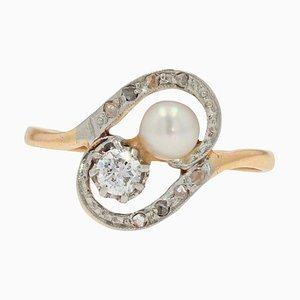 Duo-Ring aus 18 Karat Gelbgold mit natürlicher Perle, 19. Jh