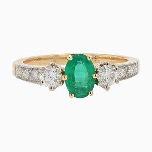 0,60 Karat Smaragd, Diamanten und 18 Karat Gelbgold Verlobungsring