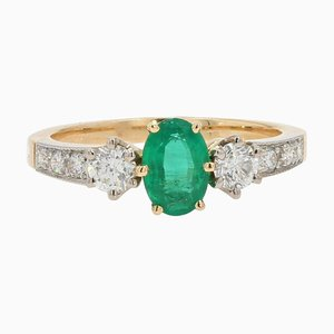 Bague de Fiançailles en Emeraude, Diamants et Or Jaune 18 Carat de 0.60 Carat