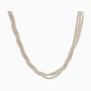 Antike dreireihige Halskette mit Zuchtperlen aus 18 Karat Gelbgold