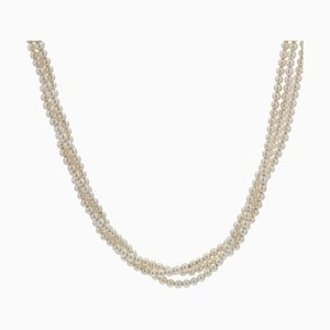 Collier de Perles de Culture à Trois Rangs avec Fermoir en Or Jaune 18 Carats