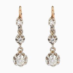 Französische Hängeohrringe aus 18 Karat Roségold mit Diamanten, 19. Jh., 2er Set