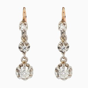 French 19th Century Diamond and 18 Karat Rose Gold Dangle Earrings, Set of 2