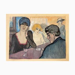 Au Bar, Aquarelle sur Papier, AJ Kristians, France, 1920s