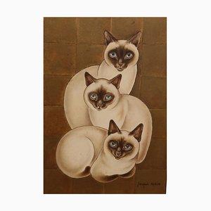3 Chats Siamois, Huile sur Panneau, Jacques Nam, France, 1930s