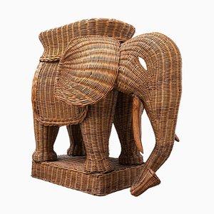 Mid-Century Rattan Elefant, Italien, 1960er