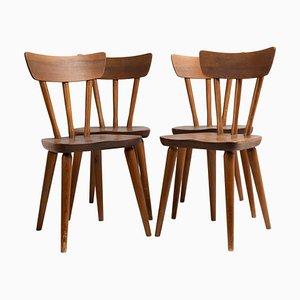 Scandinavian Swedish Fur Pine Chairs by Göran Malmvall, Set of 4