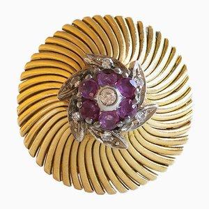 Vintage 18 Karat Gold, Diamant und Rubin Ring, 1940er