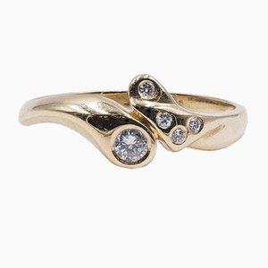 Vintage 14K Gold Diamond Ring, 1970s