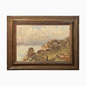 Antikes Gemälde, Öl auf Leinwand, L. Gignous, Blick von der Hohen Küste