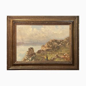Antique Painting, Oil on Canvas, L. Gignous, View from High Coast