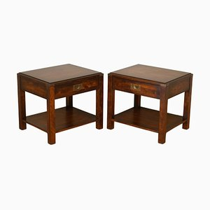Large Solid Military Campaign Bedside Tables, Set of 2