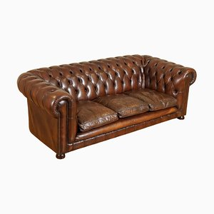 Braunes Vintage Leder 3-Sitzer Chesterfield Sofa