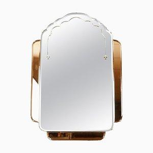 Art Deco Amber & Peach Bevelled Glass Wall Mirror, 1930s