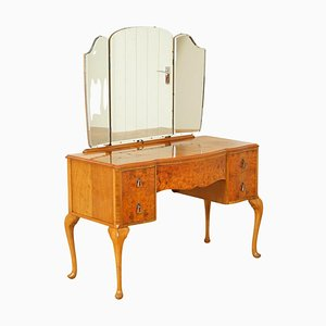Vintage Art Deco Burr Walnut Dressing Table with Queen Anne Legs