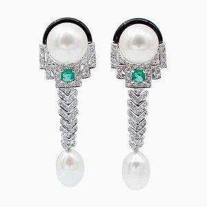 Boucles d'Oreilles en Or Blanc 14 Carats avec Diamants, Émeraudes, Perles et Onyx, Set de 2