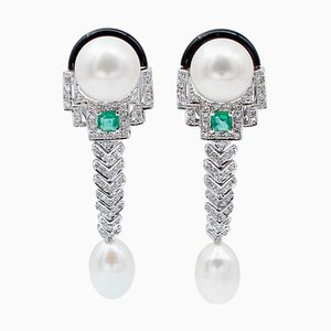 Orecchini pendenti in oro bianco 14 carati con diamanti, smeraldi, perle e onice, set di 2