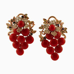 Boucles d'Oreilles Diamant, Saphir, Tsavorite, Or 9 Carat et Argent, Set de 2