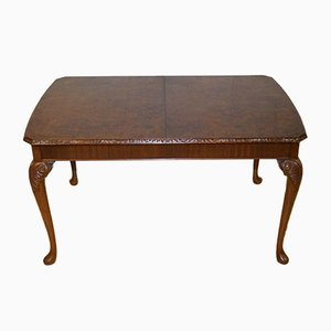 Queen Anne Burr Walnut Coffee Table with Carved Legs, 1930s