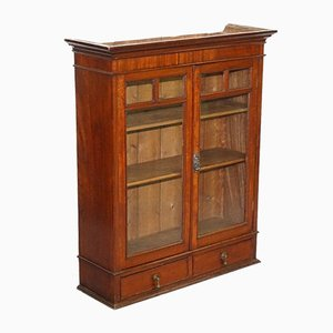 Hardwood Wall Bookcase or Cabinet with Glazed Doors