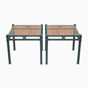 Tables d'Appoint Vintage en Métal Vert avec Plateau en Verre par Pierre Vandel, Set de 2