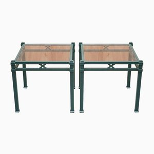 Vintage Green Metal Side Tables with Glass Top by Pierre Vandel, Set of 2