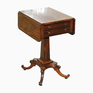 19th-Century Hardwood Work Table with Drop Leaves and Two Drawers