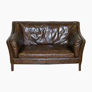Halo Groucho Brown Leather 2-Seater Sofa