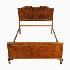 Vintage Queen Anne Burr Walnut Double Bed Frame