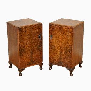 Vintage Art Deco Burr Walnut Bedside Tables, Set of 2