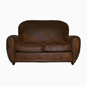 Art Deco Brown Suede Sofa with Stud Details