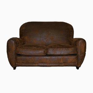 Art Deco Sofa aus braunem Wildleder mit Nieten Details