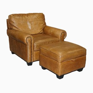 Tan Leather Armchair & Footstool with Storage & Stud Details from Barker & Stonehouse