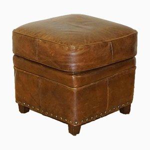 Poggiapiedi vintage in pelle marrone con borchie