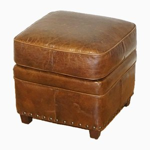 Vintage Brown Leather Footstool with Studs