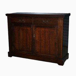 Antiker Schrank oder Sideboard aus Hartholz mit Messinggriffen