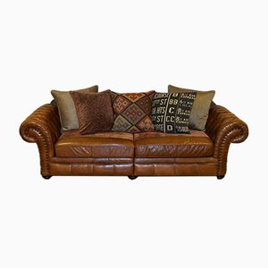Brown Leather Sofa with Feather Filled Cushions Kilim from Alexander & James