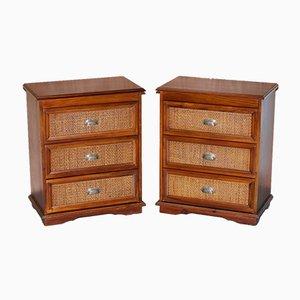 Cassettiere in legno massiccio, set di 2