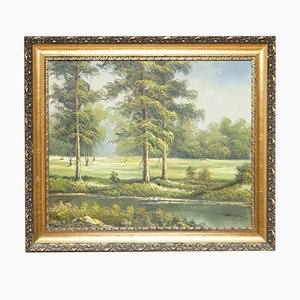 Oil Painting of a Green Forest on Gold Ornate Frame by C. Sander