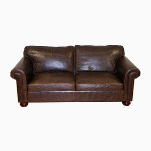 Fishpools Leather 2-Seater Sofa with Duck Feather Filled Back Cushions from Heritage