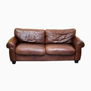 Madison 3-Seater Brown Leather Sofa from John Lewis