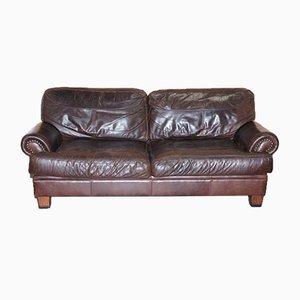 Chartwell Braunes 3-Sitzer Ledersofa mit Nieten von John Lewis