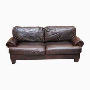 Chartwell Brown Chocolate Leather 3-Seater Sofa with Studs on Arms from John Lewis